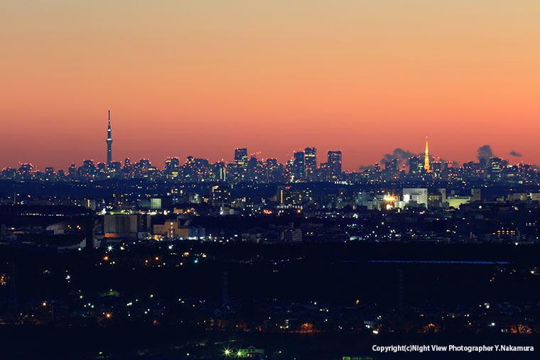 鳶尾山観光展望台から望む東京タワーや東京スカイツリー
